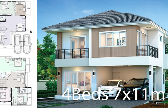 House design plan 7x11m with 4 bedrooms