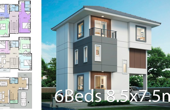 House design plan 8.5×7.5m with 6 bedrooms
