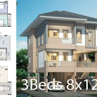 House design plan 8x12.5m with 3 bedrooms