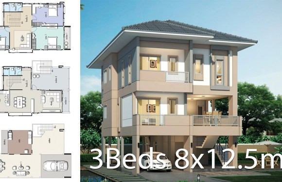 House design plan 8×12.5m with 3 bedrooms