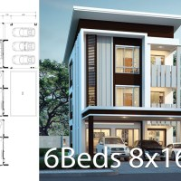 House design plan 8x16.5m with 6 bedrooms