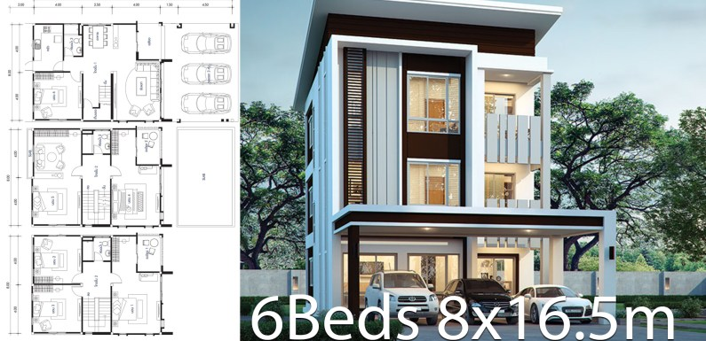 House design plan 8×16.5m with 6 bedrooms