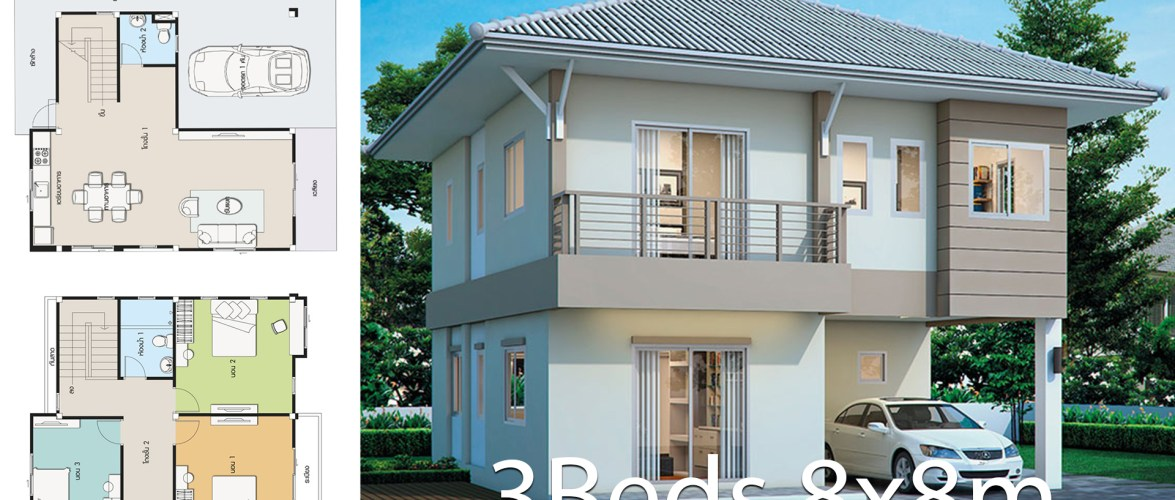House design plan 8x8m with 3 bedrooms