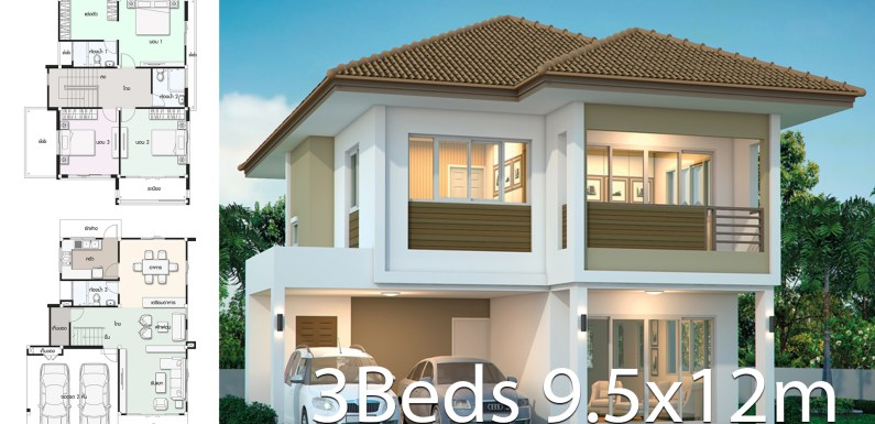 House design plan 9.5x12m with 3 bedrooms