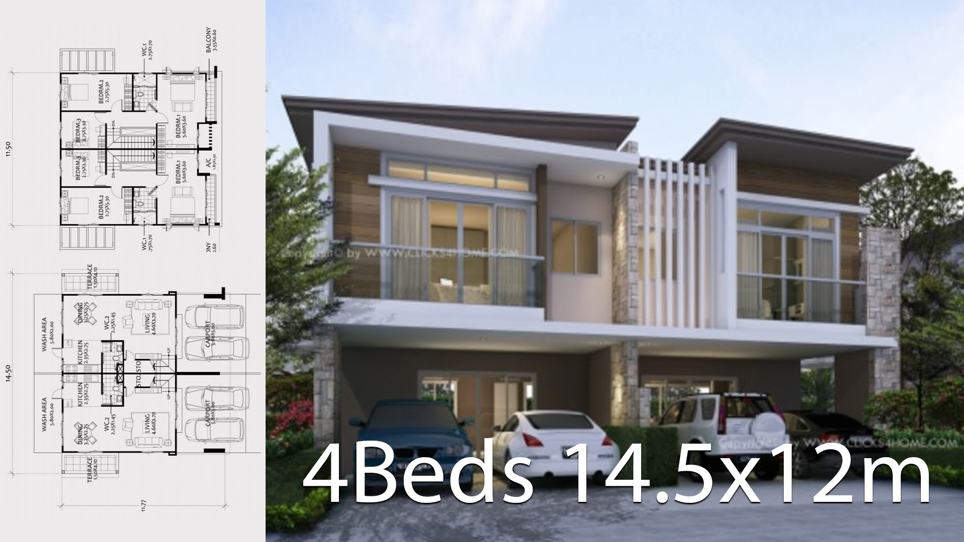 Twin house design plan 14.5x12m with 6 bedrooms - Home Ideas