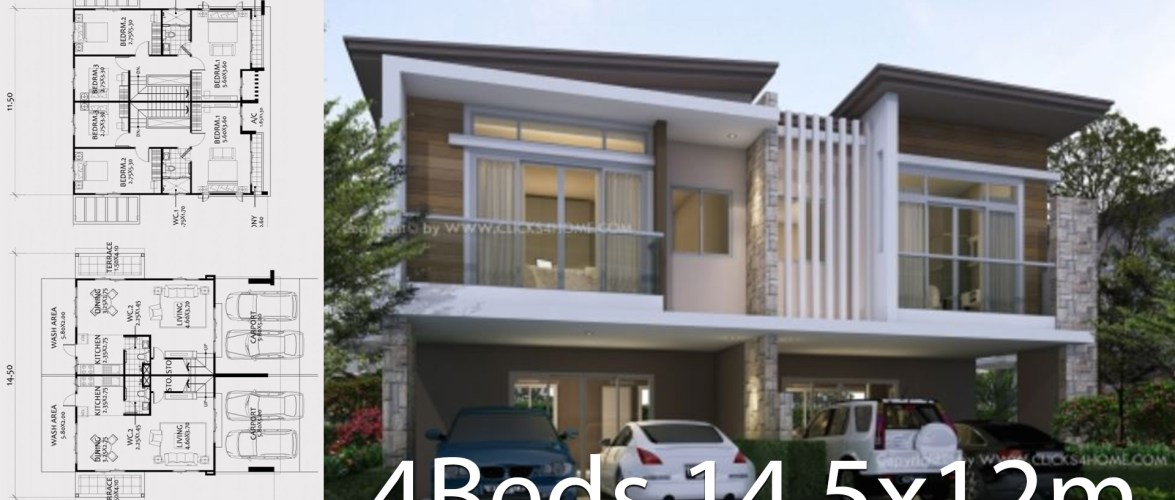 Twin house design plan 14.5x12m with 6 bedrooms