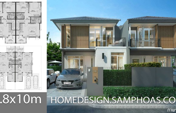 Home design 5.8x10m with 3 bedrooms
