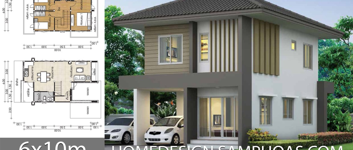 Home design plans 6x10m with 3 bedrooms