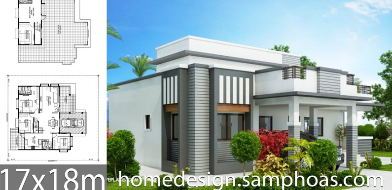 House Plans 17x18m with 4 bedrooms