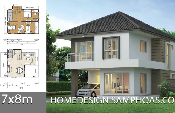 House design Plans 7x8m with 3 Bedrooms