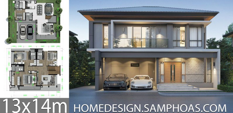 House design plans 13x14m with 4 Bedrooms