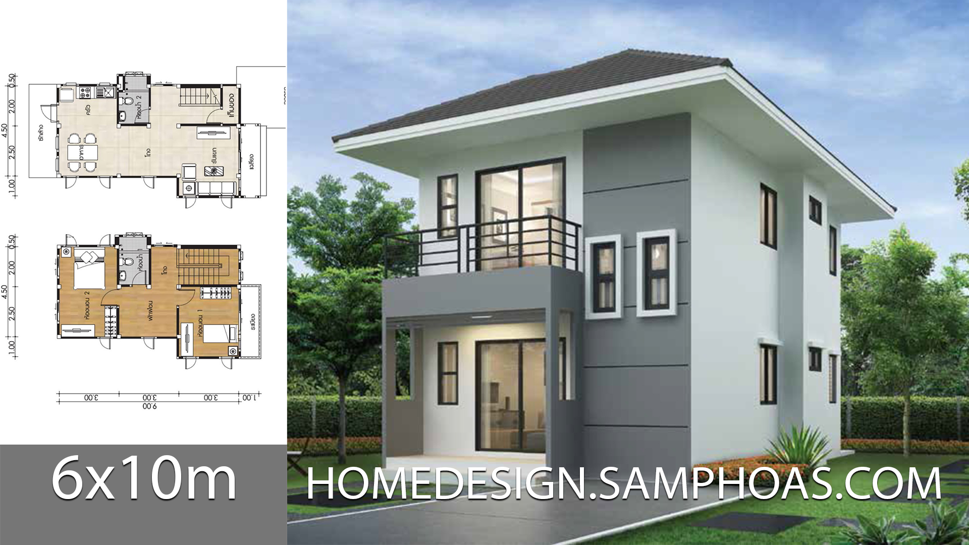 Small Home design Plans 6x10m with 2 Bedrooms - Home Ideas
