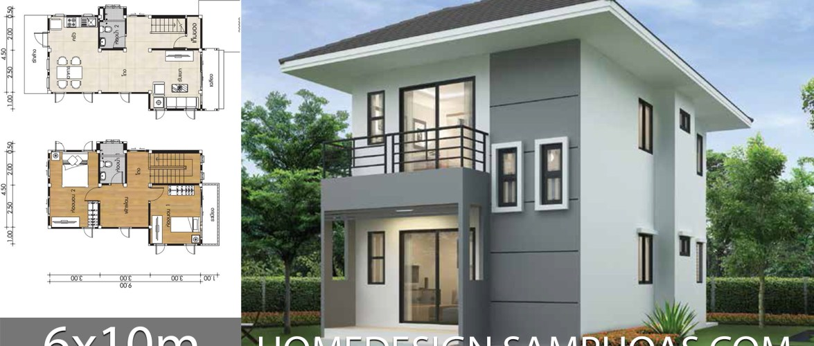 Small Home design Plans 6x10m with 2 Bedrooms