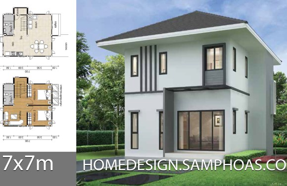 Small Home design Plans 7x7m with 2 Bedrooms