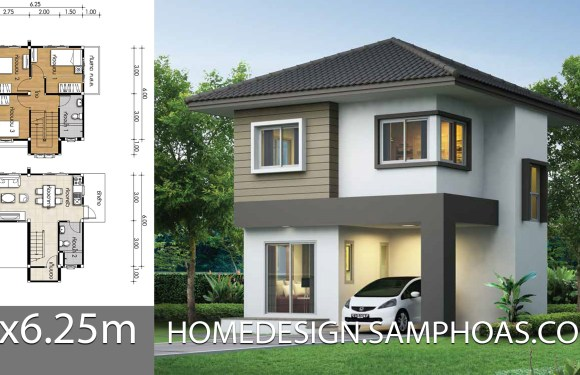 Small House Plan 6×6.25m with 3 bedrooms