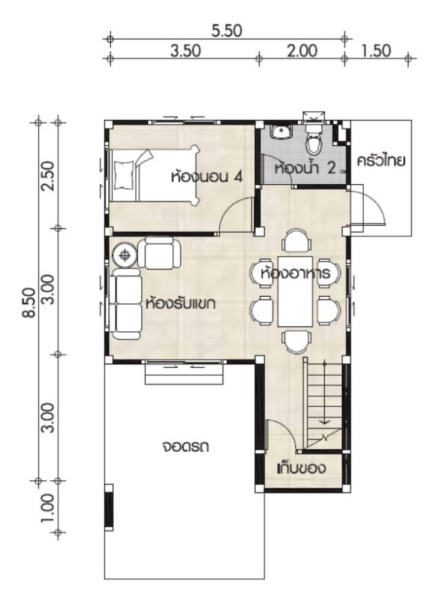 Small House design plans 7x9.5m with 4 bedrooms layout Copy 2 - Get Small House Design With 4 Rooms Gif