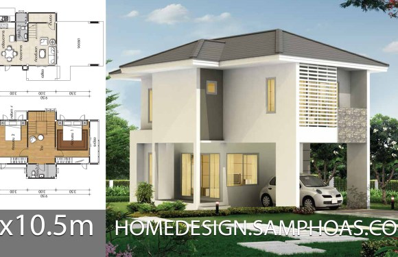 Small House plans 7×10.5m with 2 bedrooms