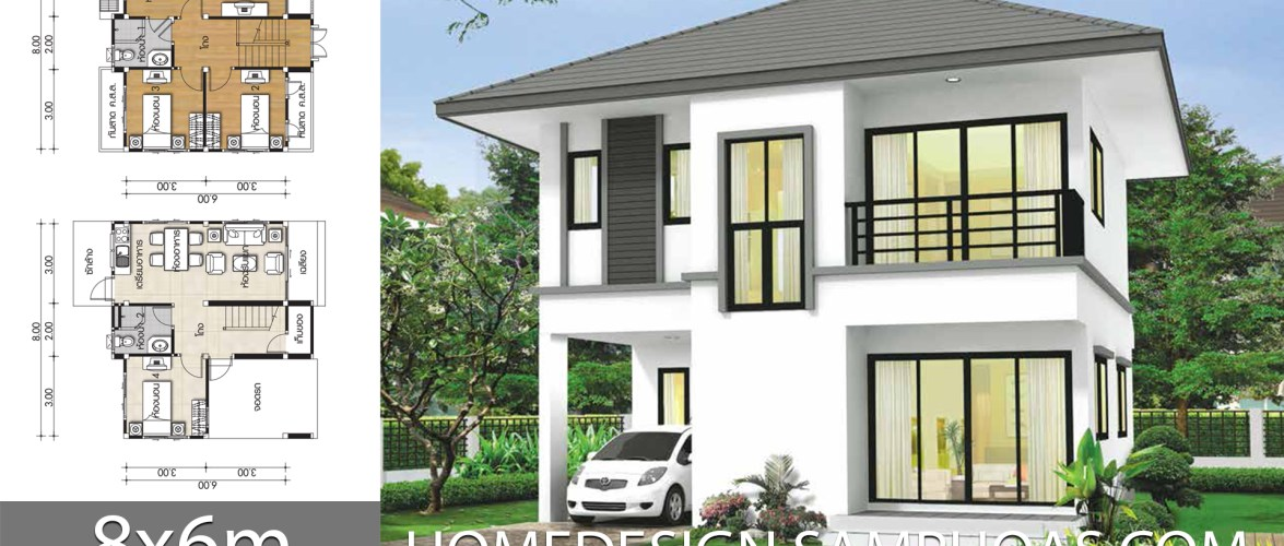 Small House plans 8x6m with 4 bedrooms