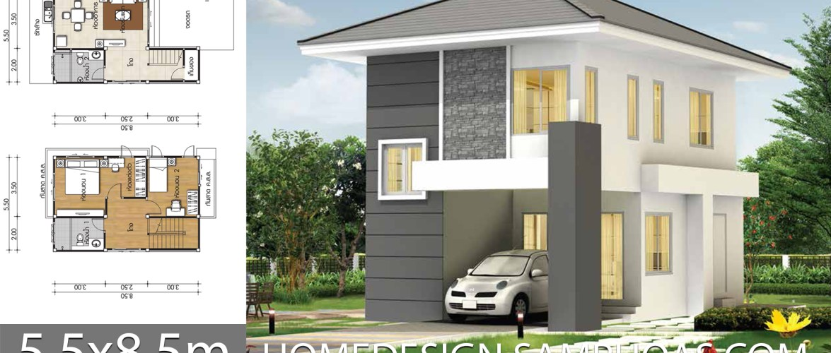 Small house plans 5.5×8.5m with 2 bedrooms