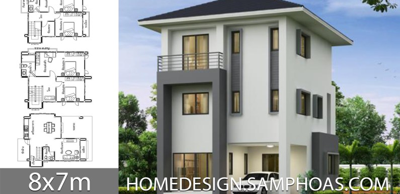 House design plans 8x7m with 4 bedrooms