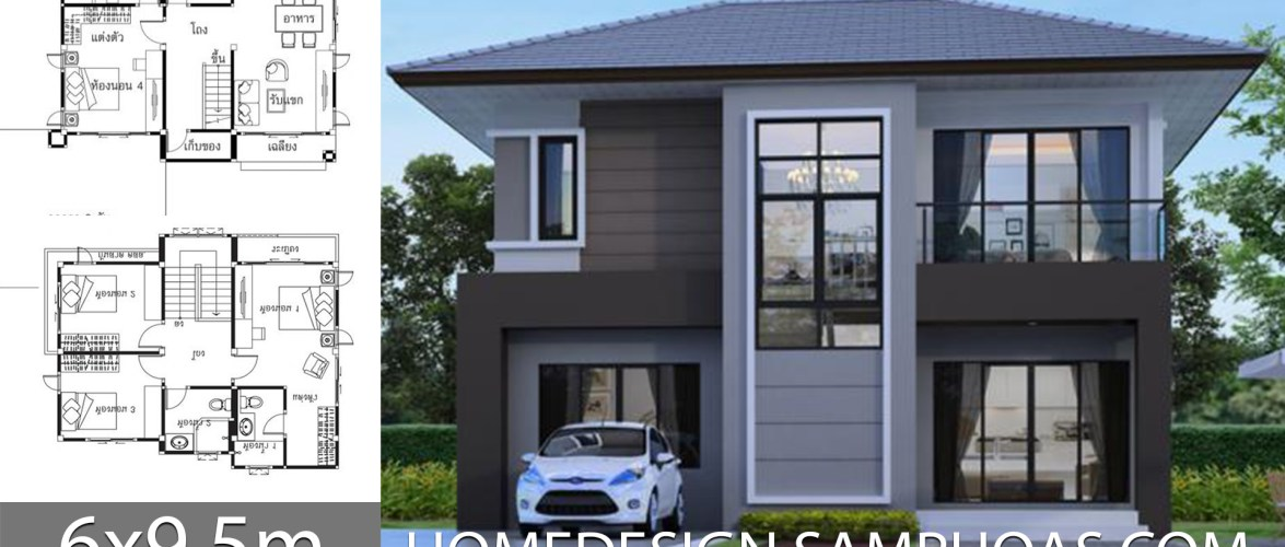 House ideas 6×9.5m with 4 bedrooms