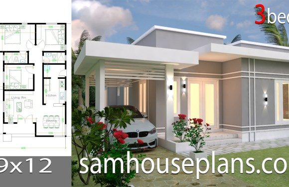 House Plans Design 9×12 with 3 bedrooms