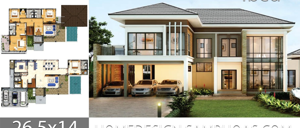 House plans idea 26.5×14 with 4 bedrooms