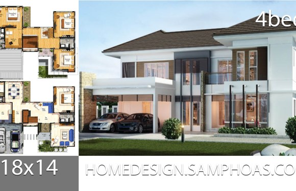 House Plans idea 18×14 with 4 bedrooms