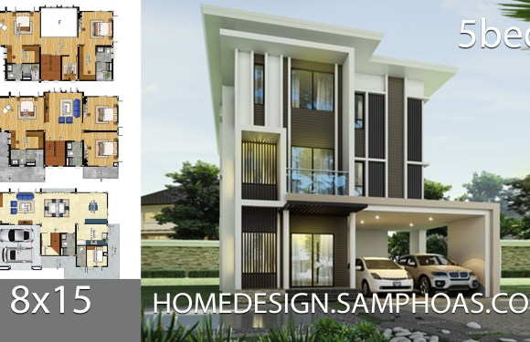House plans idea 8×15 with 5 bedrooms