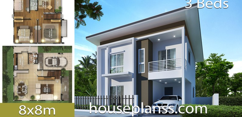 House  design Plans 8×8 with 3 bedrooms