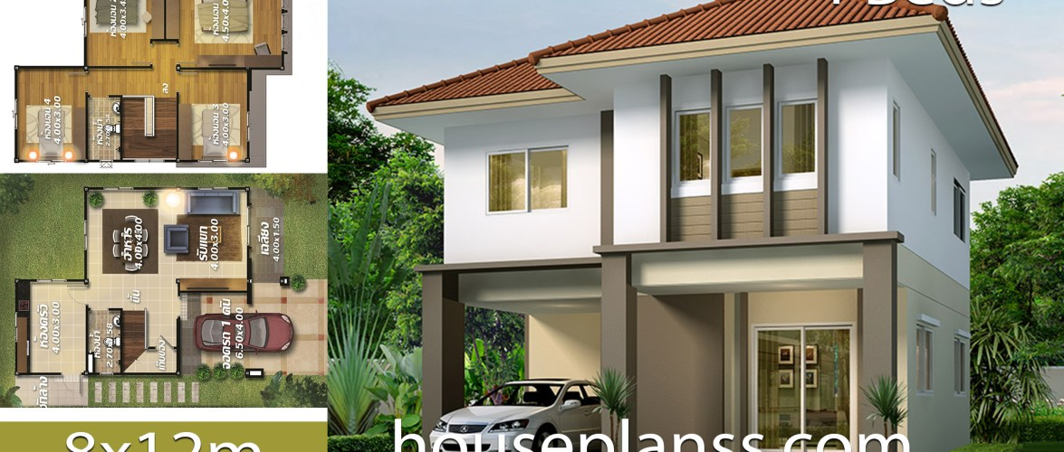 House design Plans Design 8×12 with 4 Bedrooms