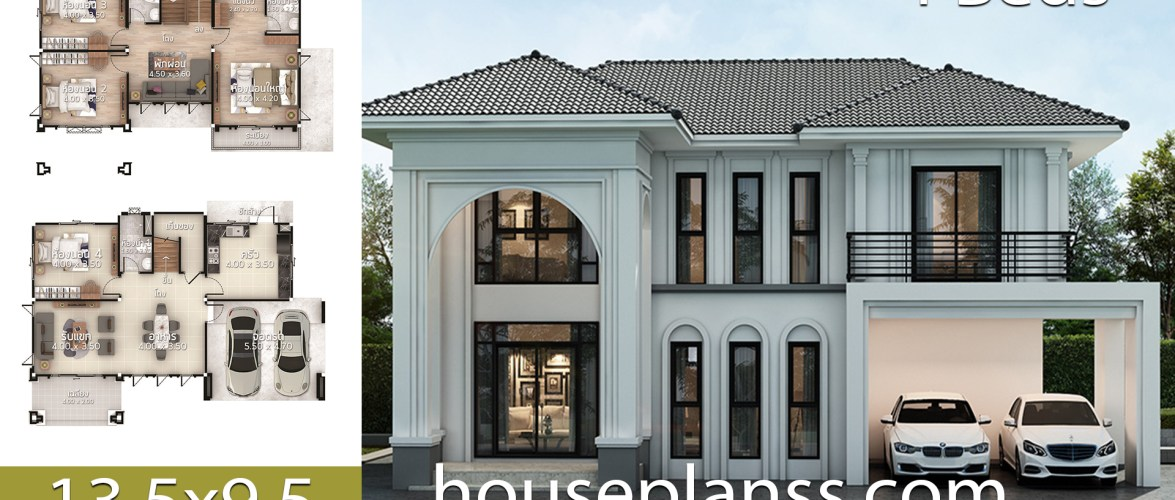 House Plans Design Idea 13.5×9.5 with 4 bedrooms