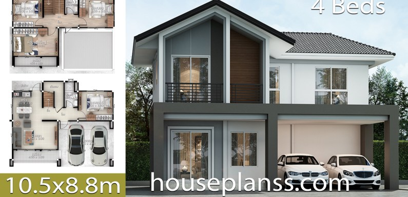 House Design Plans Idea 10.5×8.8 with 4 bedrooms