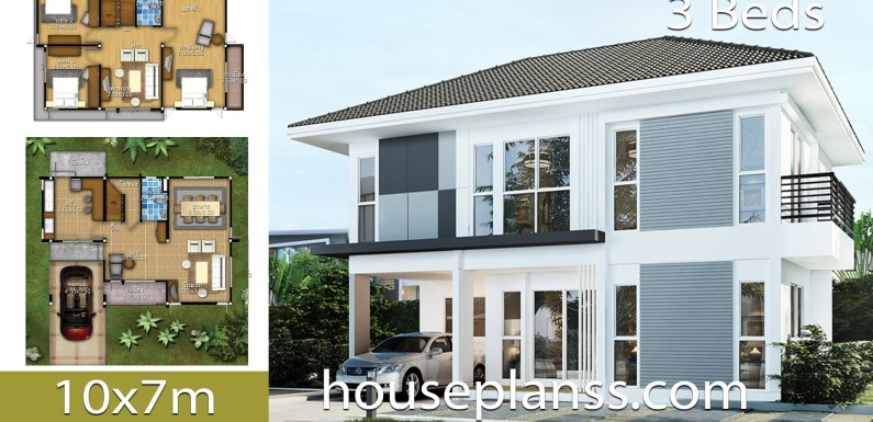 House Design Plans Idea 10×7 with 3 bedrooms