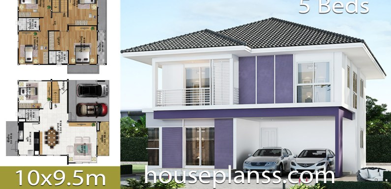 House Design Plans Idea 10×9.5 with 5 bedrooms