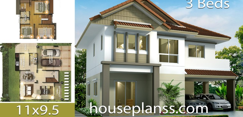 House design Plans Idea 11×9.5 with 3 bedrooms