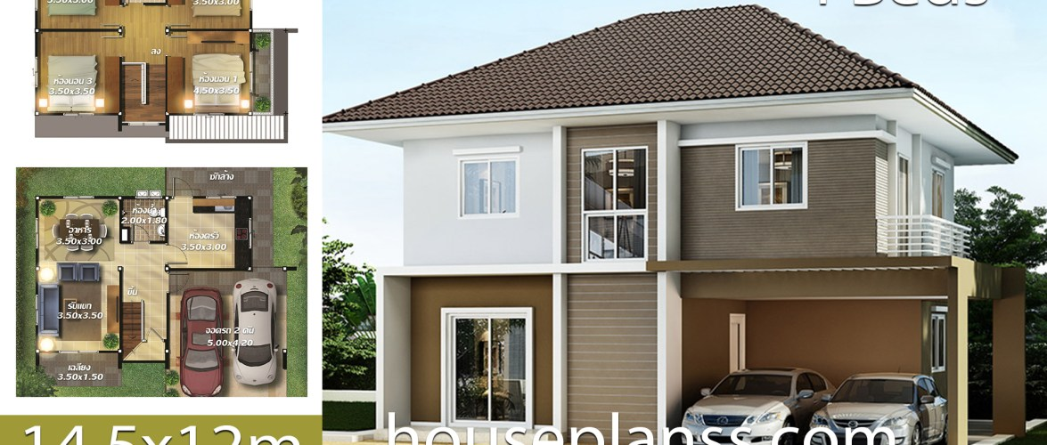 House design Plans Idea 14.5×12 with 4 bedrooms