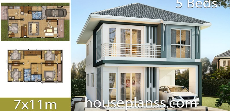 House design Plans Idea 7×11 with 5 bedrooms