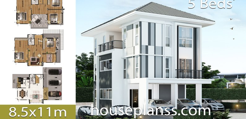 House design Plans Idea 8.5×11 with 5 Bedrooms