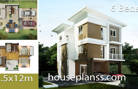 House design Plans Idea 8.5×12 with 6 Bedrooms