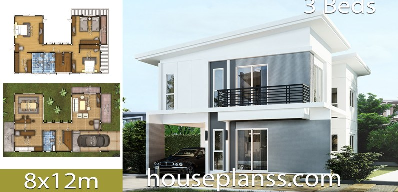 House design Plans Idea 8×12 with 3 Bedrooms