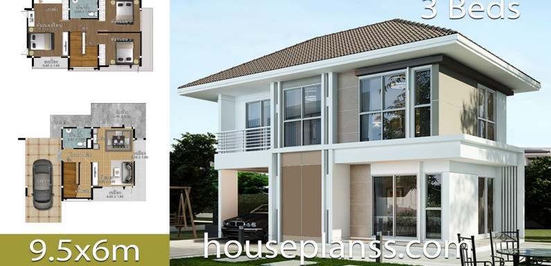 House design Plans Idea 9.5×6 with 3 bedrooms