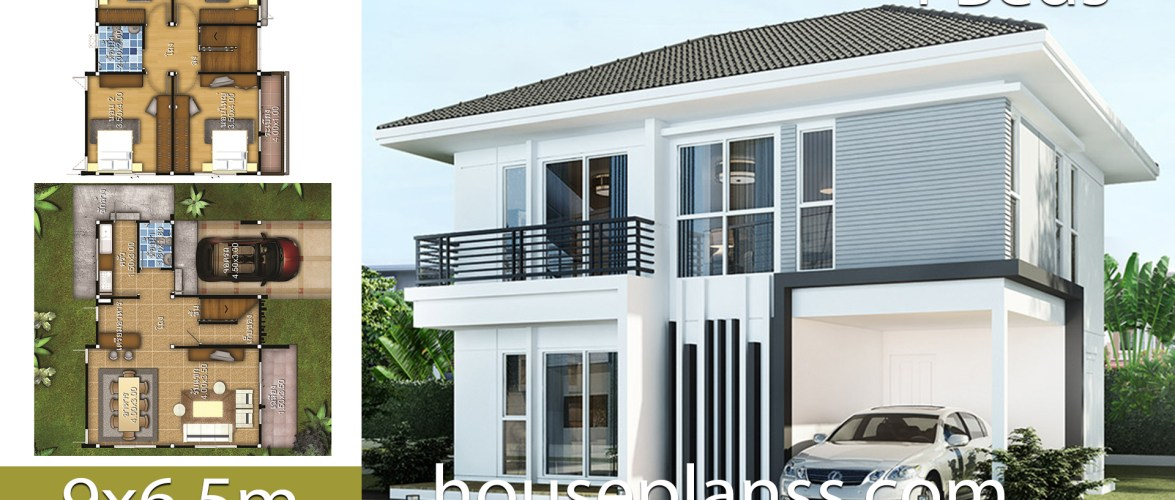 House design Plans Idea 9×6.5 with 4 bedrooms