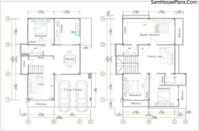 House Design Plans 8.5x11 with 4 Bedrooms PDF Full Plans floor plan