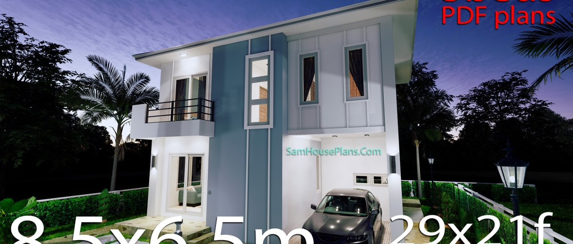 Small House Design 8.5X6.5 M 3 Bedrooms