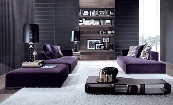 living room designs with purple accent