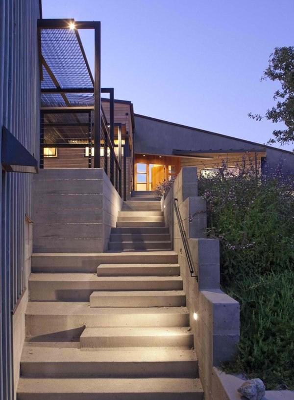 15 Concrete Exterior Staircase Design Home Design Lover | Modern Staircase Design Outside Home | Iron Railings | Concrete | Design Ideas | Msmedia | Steel Staircase