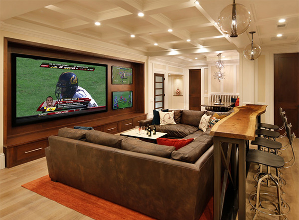 media rooms and theaters with bars
