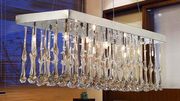 15 Glamorous Crystal Rectangular And Linear Pendant Lights