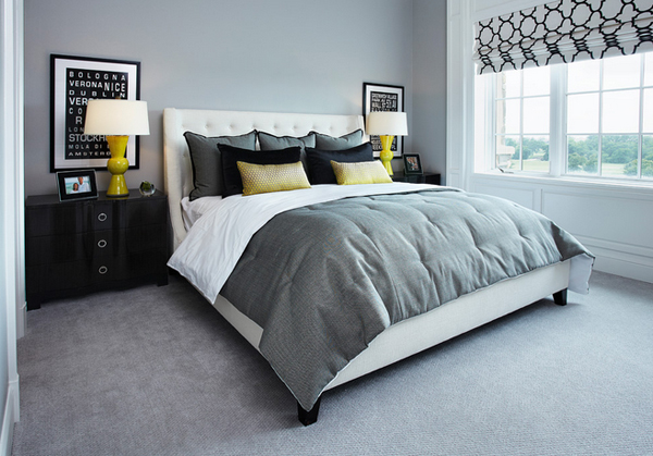 sophisticated black and yellow bedrooms